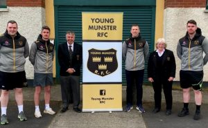 Picture from Left to right: Richie McNamara ( Forwards Coach), Shane O'Brien ( Backs Coach), Declan Deegan ( President), Stephen Carey (Head Coach), Trish Montgomery ( Vice President), Alan Kennedy (S&C Coach / Assistant Coach). Missing from the photo are Paul o Byrne (Team Manager) and Christy Cosgrave (Covid Officer and Kitman).